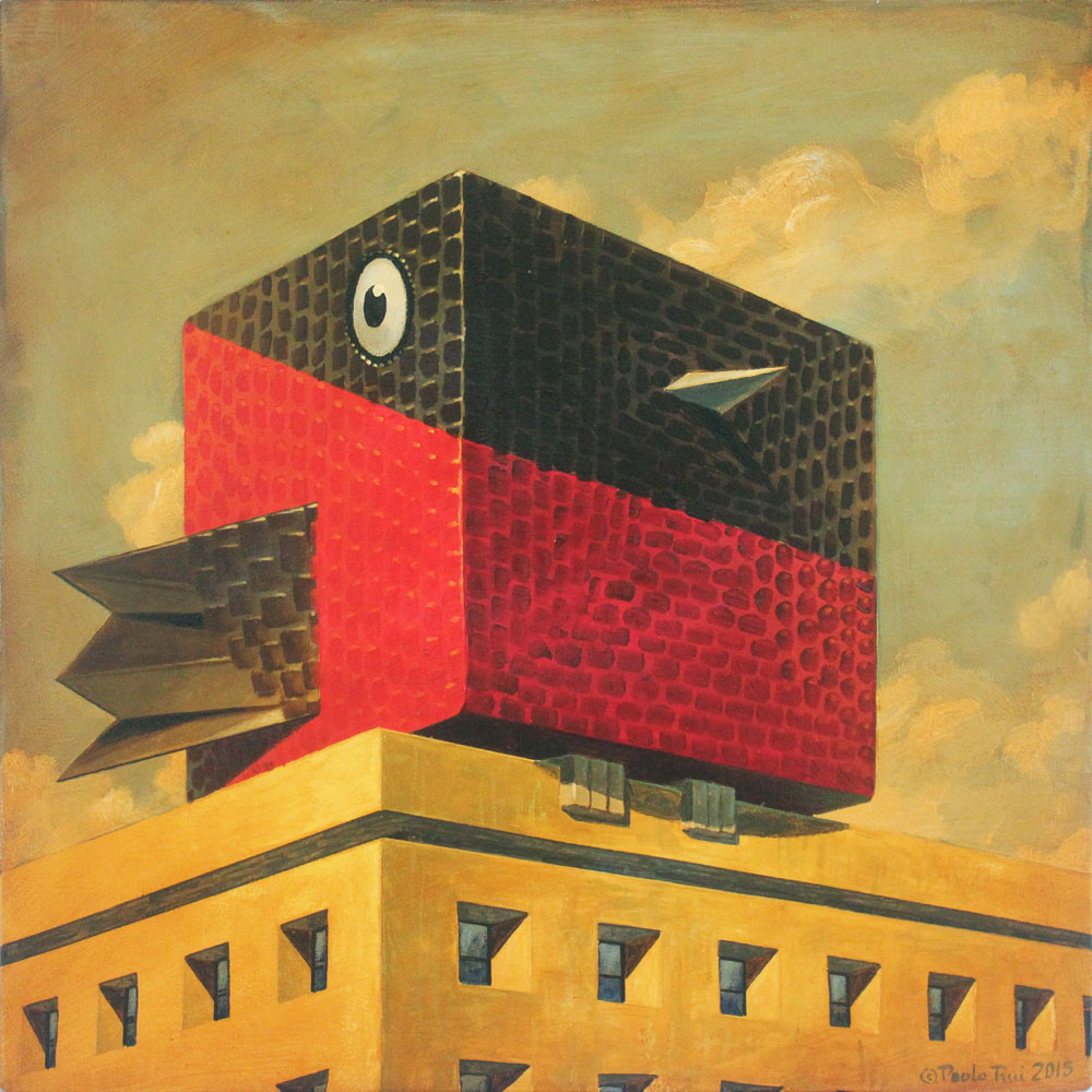 © Paolo Rui; painting; acrylic and oil on canvas; surreal; Taiwanese red oriole; adaptation; cube; cubism