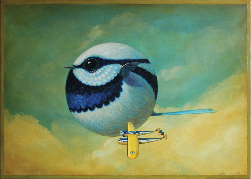 © Paolo Rui; surreal; painting; acrylic and oil on canvas; Fairy Wren; Australian birds; Blériot 125