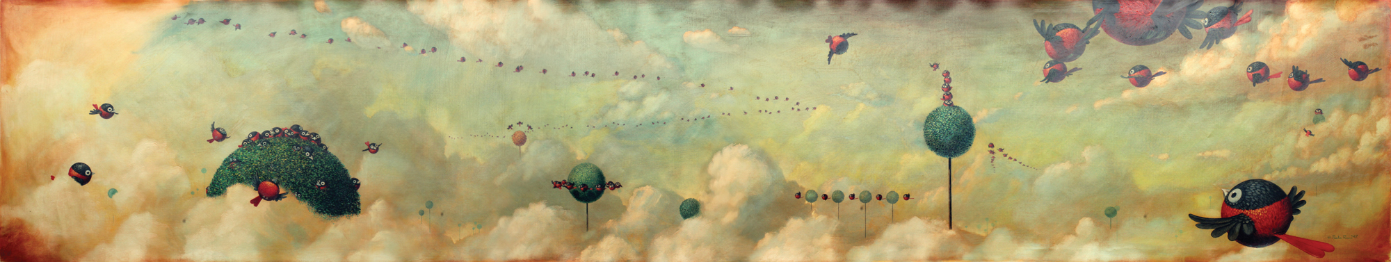 © Paolo Rui; painting; acrylic and oil on canvas; surreal; birds; Red Oriole; airspace; migration; Taiwanese birds; curiosity