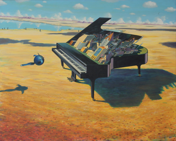 © Paolo Rui; painting; surreal; acrylic on canvas; piano; music; Taiwanese birds; Blue Magpie; city; musical