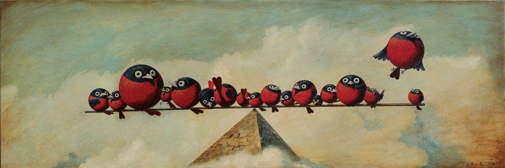 © Paolo Rui; painting; acrylic and oil on canvas; surreal; birds; Red Oriole; Balance; power; pyramid; Taiwanese birds; masonry