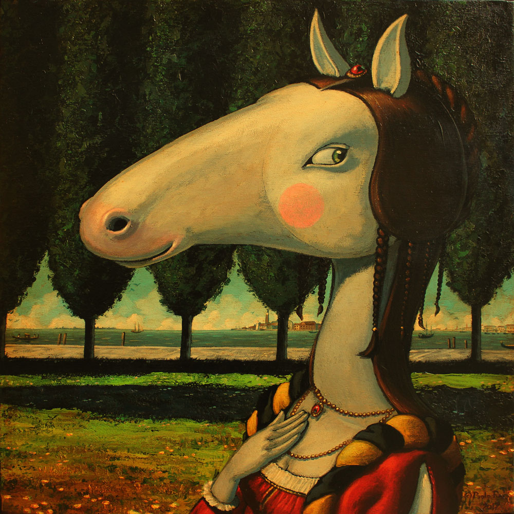 © Paolo Rui; painting; acrylic and oil on canvas; surreal; Horse; Venice; portrait; damsel