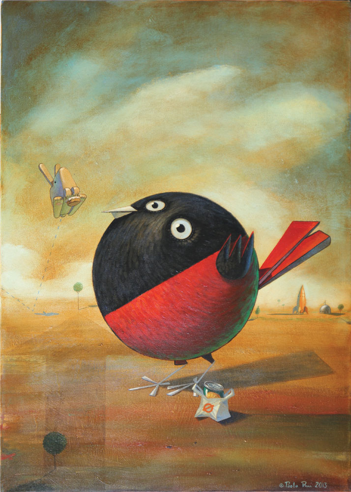 © Paolo Rui; surreal; painting; acrylic and oil on canvas; Red Oriole; Taiwanese birds; cubism; spaceport