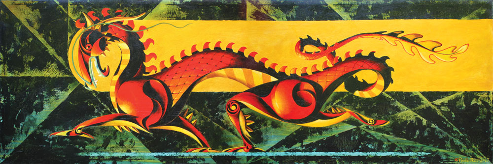 © Paolo Rui; painting; acrylic and oil on canvas; surreal; Dragon; Chinese dragon; Year of the Dragon
