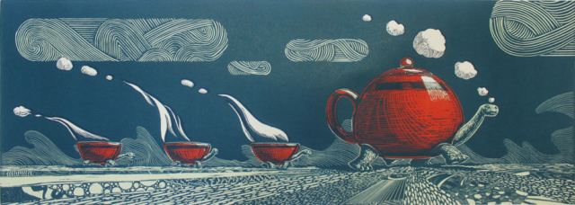 © Paolo Rui; surreal; engraviing; art-print; turtle; Tea; tea-pot