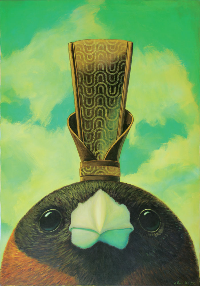 © Paolo Rui; surreal; painting; acrylic and oil on canvas; birds; Black-Headed Munia; Taiwan