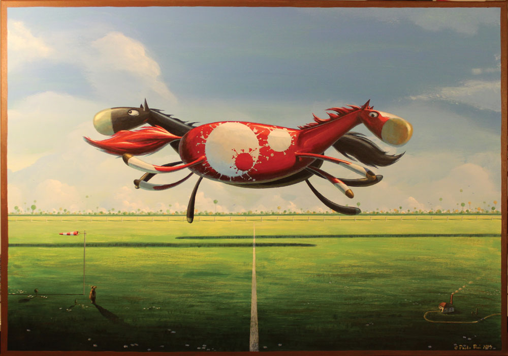 © Paolo Rui; painting; acrylic on canvas; surreal; dream; horse; horse race; landscape