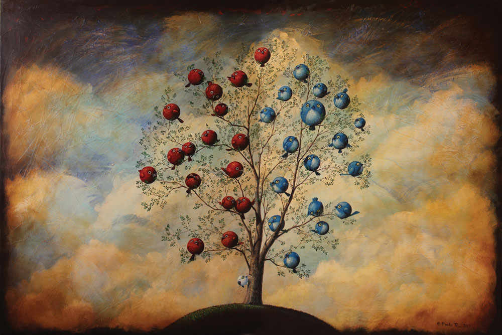 © Paolo Rui; painting; acrylic and oil on canvas; tree; birds; democracy; coup d'état; golpe; parliament