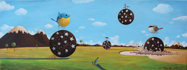 © Paolo Rui; painting; surreal; acrylic on canvas; Pan di stelle; Taiwanese birds; Mulino Bianco; Barilla