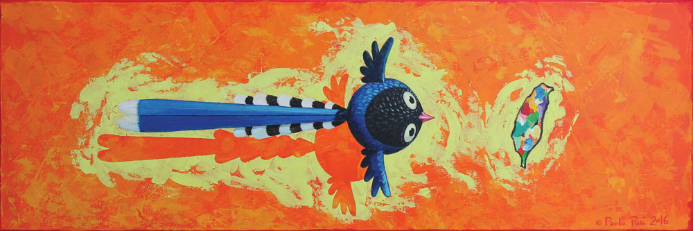 © Paolo Rui; painting; acrylic on canvas; bird; Formosan Blue Magpie; 台灣藍鵲; Taiwan; island; Formosa