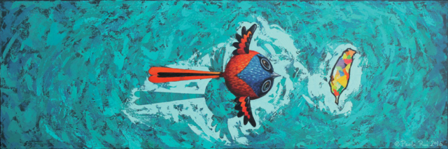 © Paolo Rui; painting; acrylic on canvas; bird; Grey-Chinned Minivet; 灰喉山椒鳥; Taiwan; island; Formosa