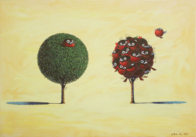 © Paolo Rui; painting; acrylic on canvas; surreal; tree; birds; Taiwanese Red Oriole; wealth; privilege