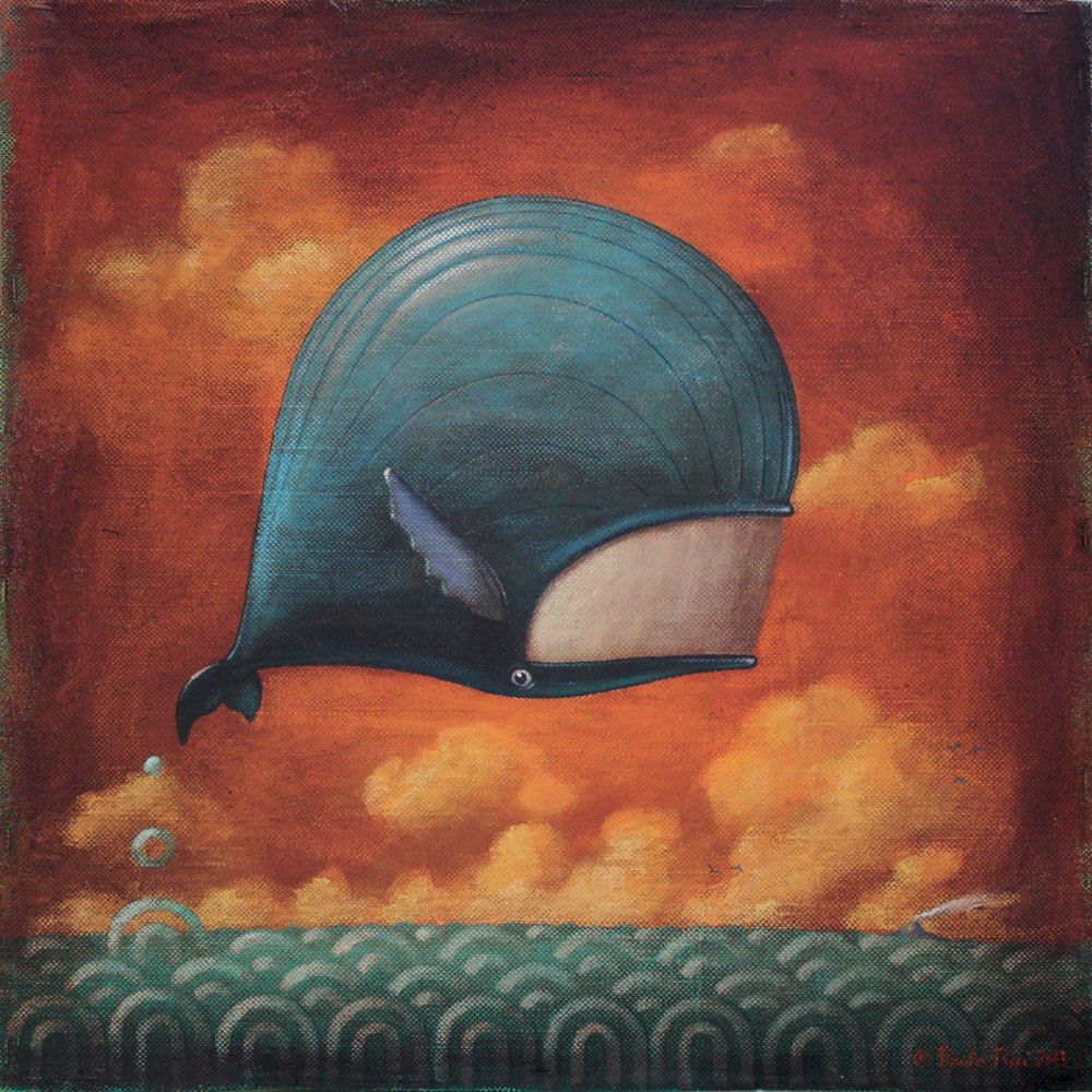 © Paolo Rui; painting; acrylic and oil on canvas; whale; surreal