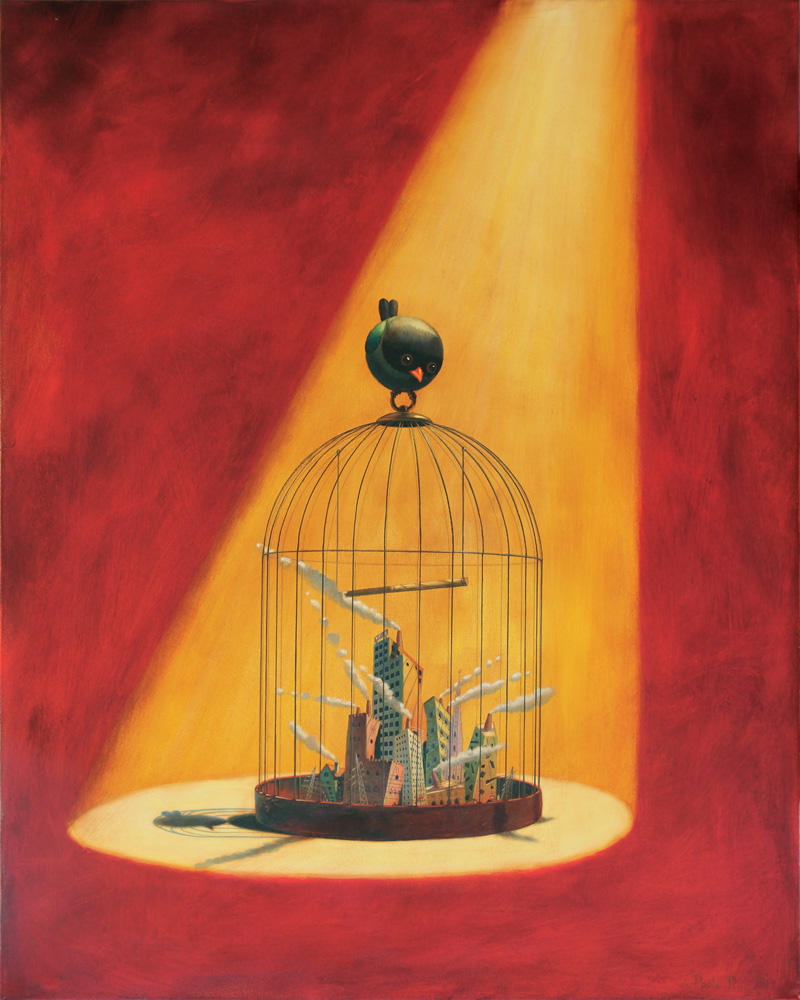 © Paolo Rui; painting; acrylic and oil on canvas; Taiwanese birds; Oriental Dollarbill; surreal; cage