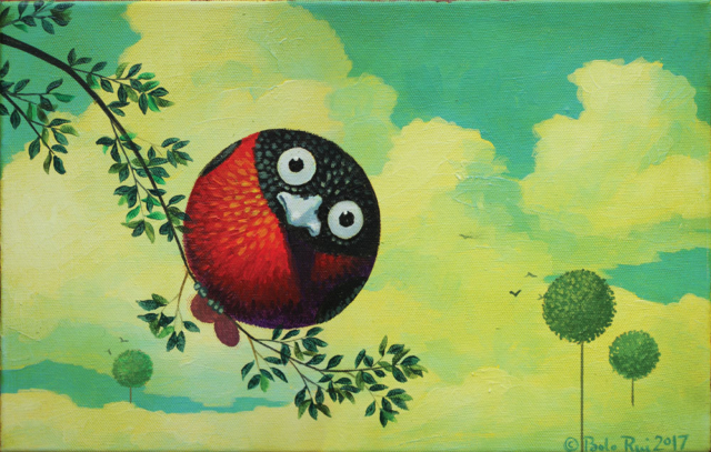 © Paolo Rui; painting; acrylic and oil on canvas; surreal; Taiwanese birds; bird; Red Oriole