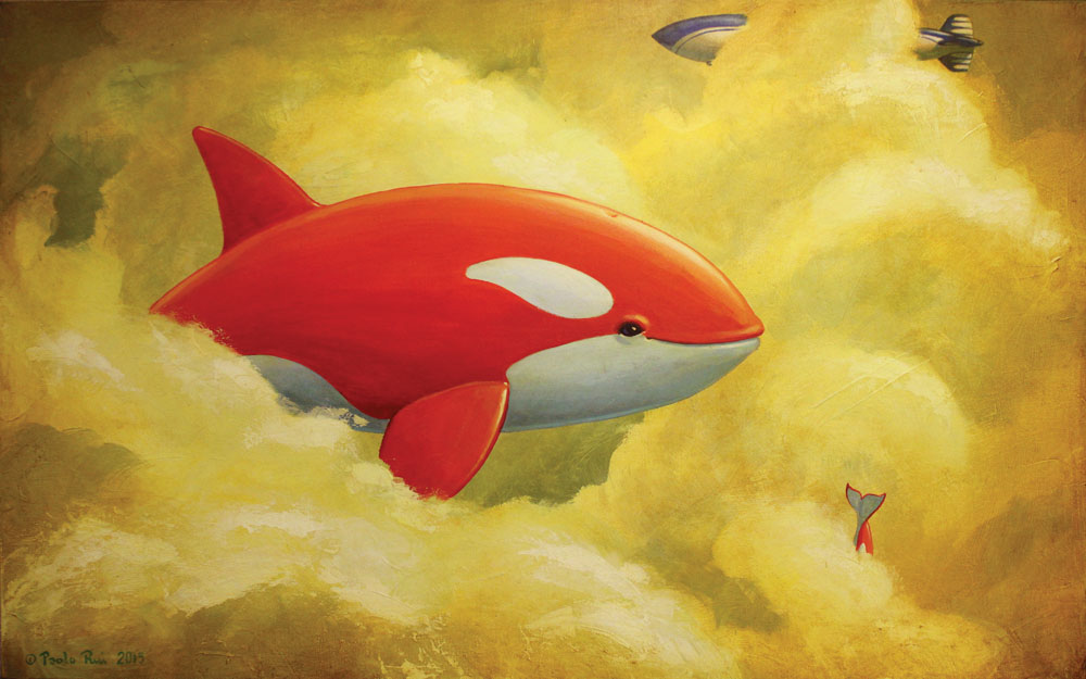 © Paolo Rui; painting; Acrylic and oil on canvas; surreal; airship; orka; killer whale; flying; clouds