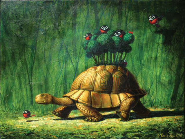 © Paolo Rui; painting; acrylic and oil canvas; surreal; turtle; mobile home; Taiwan: Taiwanese birds; Red Oriole