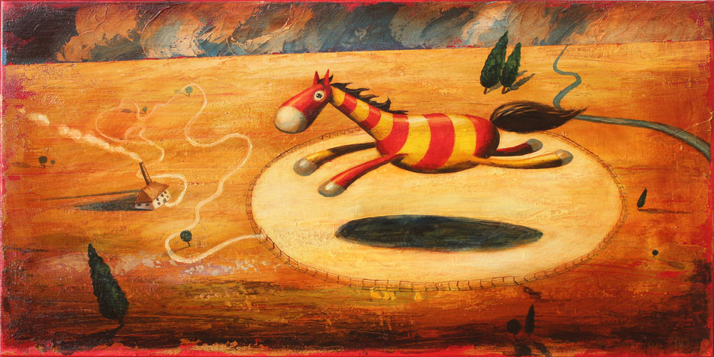 © Paolo Rui; surreal; painting; acrylic and oil on canvas; horse; corral; freedom