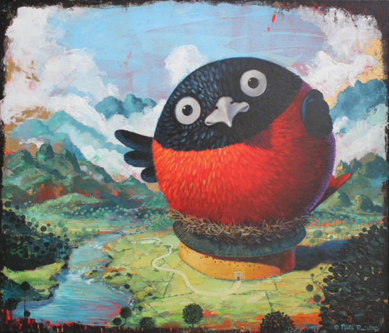 © Paolo Rui; surreal; painting; acrylic and golden enamel on canvas; tree; bird; Taiwanese Red Oriole; Hakka