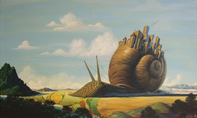 © Paolo Rui; painting; surreal; acrylic on canvas; snail; city; paths; travel; migration