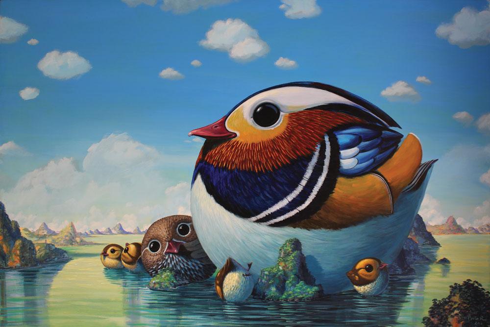 © Paolo Rui; painting; acrylic and oil on canvas; birds; Mandarina duck; Sun Moon Lake; Taiwan