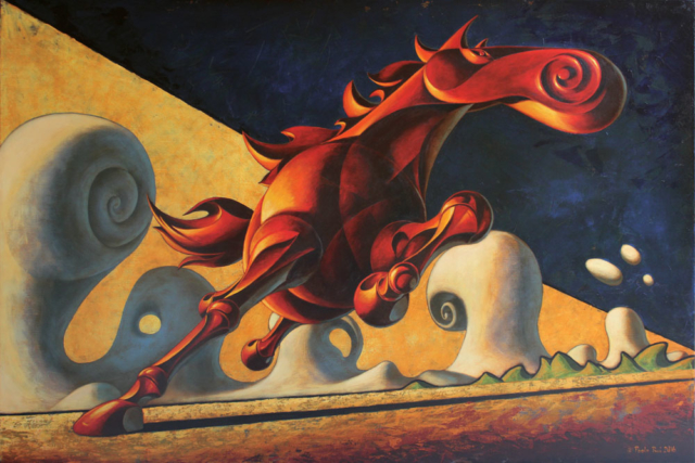 © Paolo Rui; painting; acrylic and oil on canvas; horse; freedom; steed; Palomo; futurism