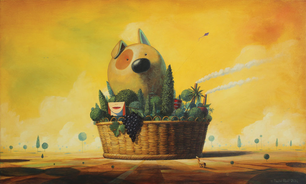 © Paolo Rui; painting; acrylic and oil on canvas; surreal; still life; Fufi; dog; basket; Jack Russell Terrier