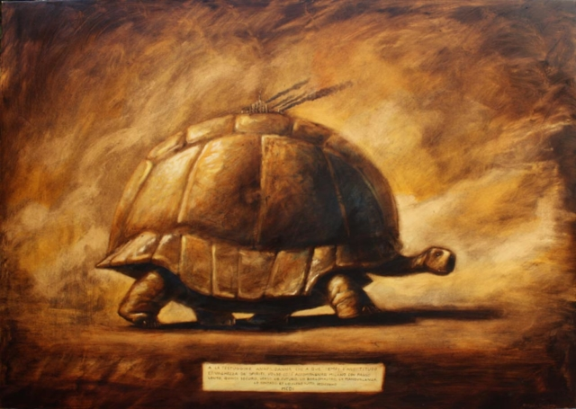 © Paolo Rui; painting; surreal; acrylic and oil on canvas; turtle, Milano; history; incertitudness