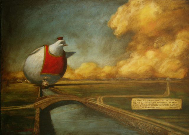 © Paolo Rui; surreal; painting; acrylic and oil on canvas; Columbus Christopher, Christopher Columbus, Milan, history