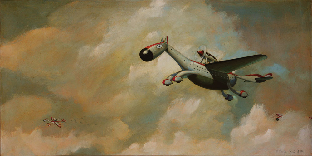 © Paolo Rui; painting; acrylic and oil on canvas; surreal; dream; air cruises; horse