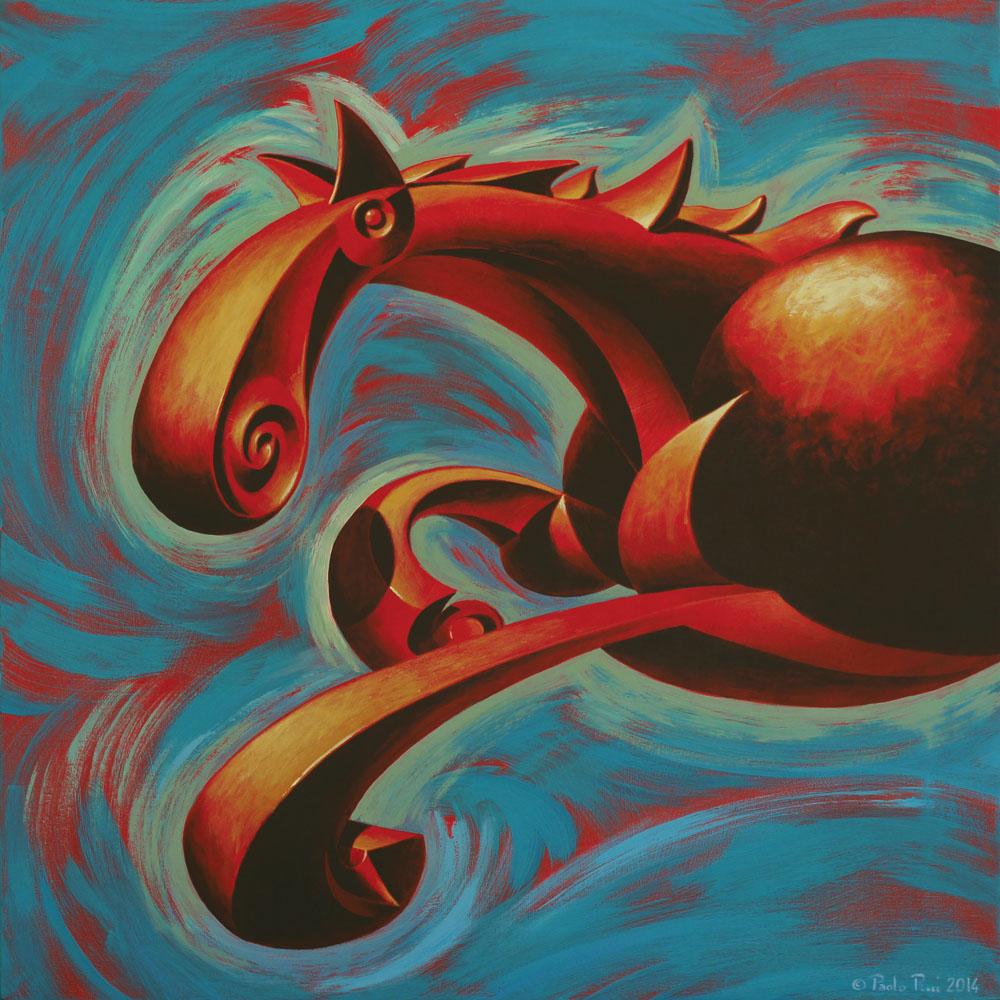 © Paolo Rui; painting; acrylic and oil on canvas; horse; futurism; Boccioni