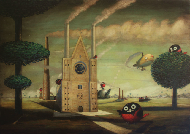 © Paolo Rui; painting; acrylic and oil canvas; surreal; dream; steam; industry; landscape; Taiwan: Taiwanese birds; Red Oriole