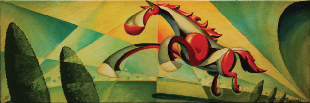 © Paolo Rui; painting; acrylic and oil on canvas; surreal; Horse; mare, futurism
