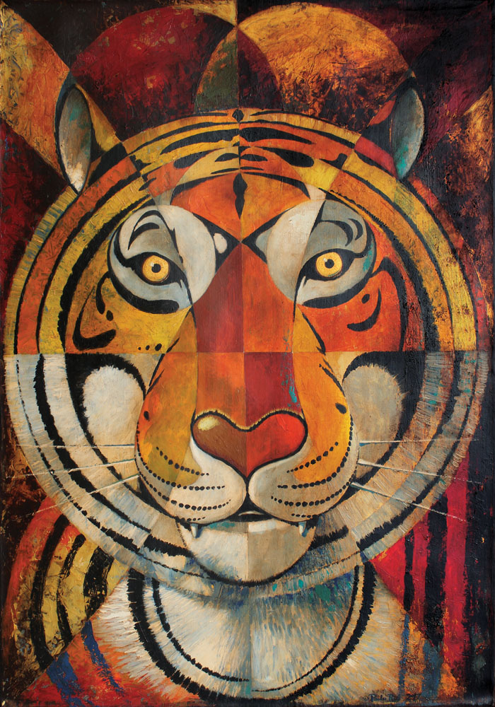 © Paolo Rui; painting; acrylic and oil on canvas; surreal; tiger; tiger head; futurism
