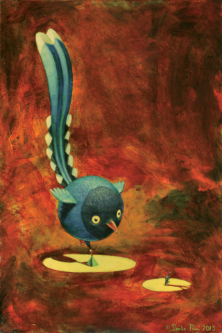 © Paolo Rui; surreal; painting; acrylic and oil on canvas; time; birds; Formosan Blue Magpie; circus