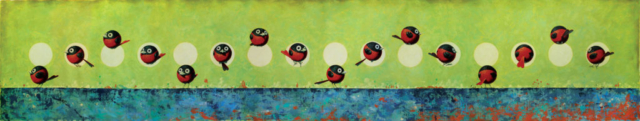 © Paolo Rui; painting; acrylic and oil on canvas; surreal; birds; Red Oriole; Tour of the world; Taiwanese birds; curiosity