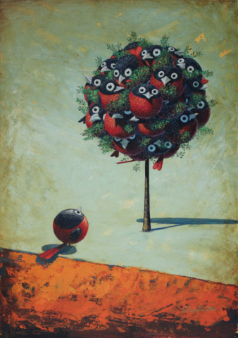 © Paolo Rui; painting; acrylic and oil on canvas; surreal; VIP; red oriole; tree; birds; Taiwanese birds