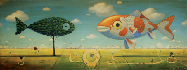 © Paolo Rui; painting; acrylic and oil on canvas; surreal; Milano; Koi; fish