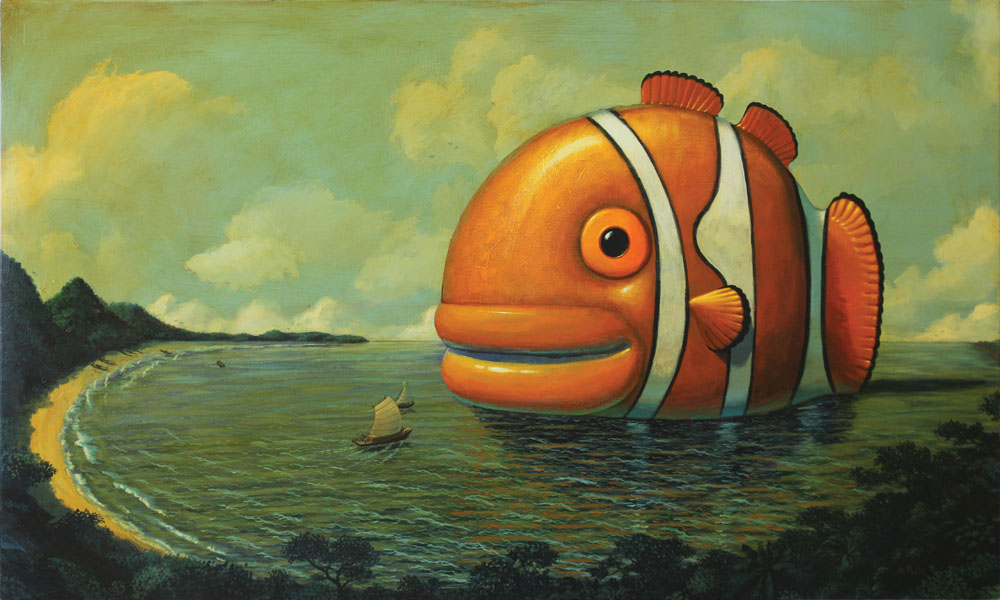 © Paolo Rui; Fishes of Taiwan; surreal; painting; acrylic on canvas; Clown fish; Keelung