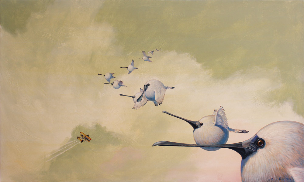 © Paolo Rui; Birds of Taiwan; surreal; painting; acrylic on canvas; Black-faced spoonbill; migration